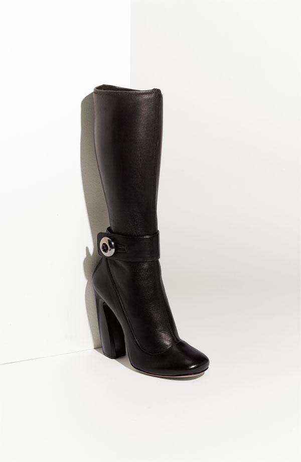 prada black leather stretch boots shoppingandinfo