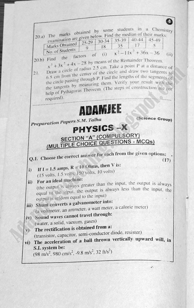 Physics Guess Papers Science Group X Class 2013