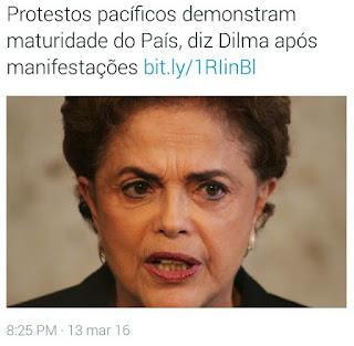 Posição oficial do governo federal sobre Protestos