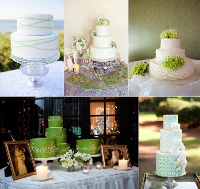 Bolo de casamento verde
