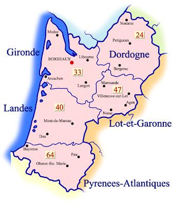 Aquitania Mapa de Ciudades