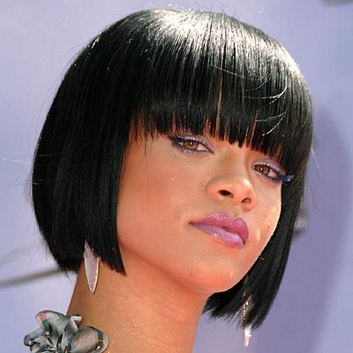 Rihanna Short Bob with Bangs Hairstyles for Black Women with Thin Hair