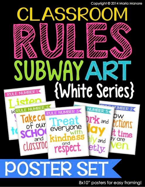 Classroom Rules Subway Art Poster Set White Series