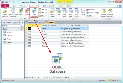 choose imported database type odbc