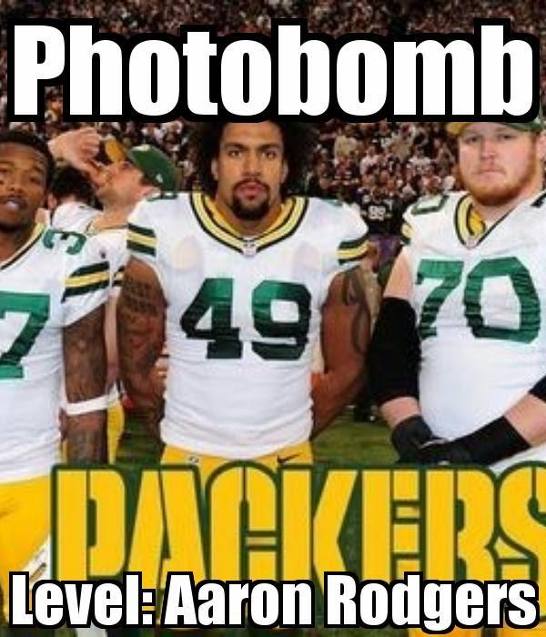 Photobomb. level: aaron rodgers - #packers #Photobomb