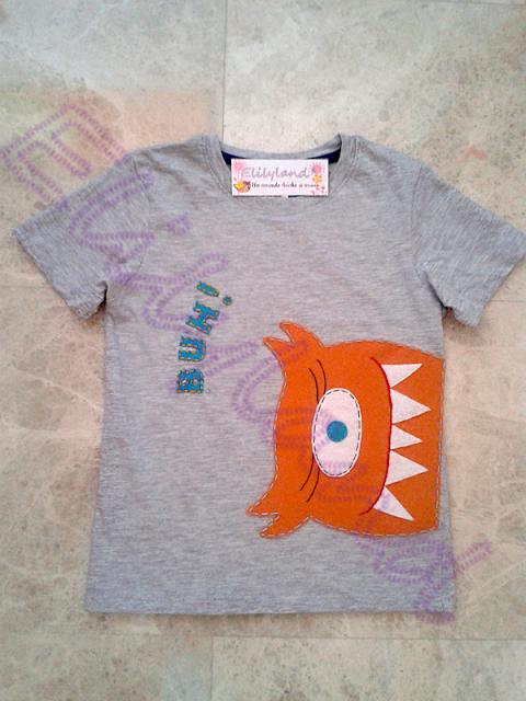 Camiseta Infantil Monstruo Fieltro a Mano