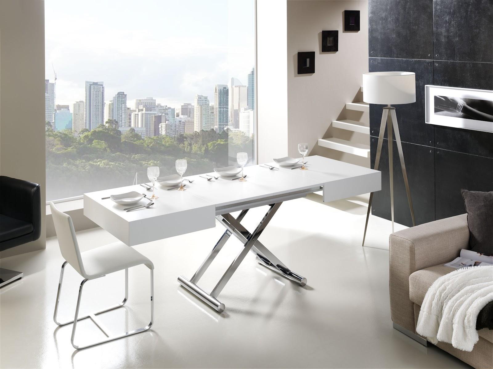 Mesas de centro elevables y extensibles a mesas de comedor for Mesa comedor transformable