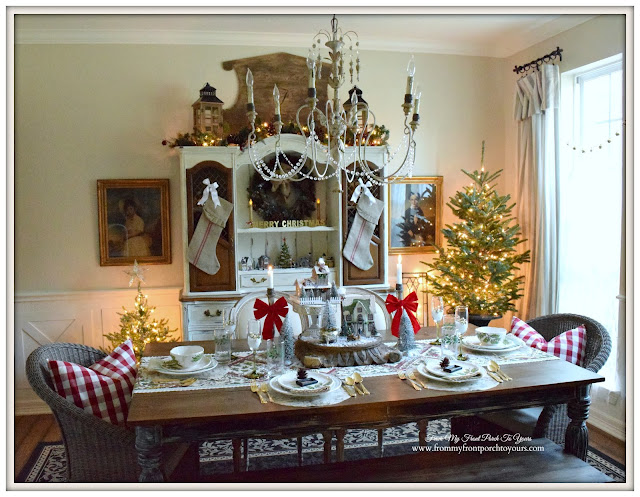 Farmhouse Christmas Dining Room-Farmhouse Table-Christmas Tablescape-From My Front Porch To Yours