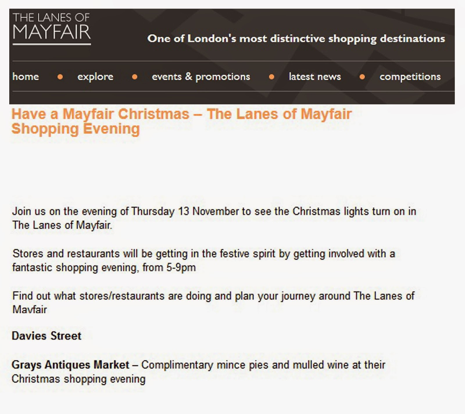 http://www.thelanesofmayfair.com/news-events-and-promotions/3788/have-a-mayfair-christmas-the-lanes-of-mayfair-shopping-evening/