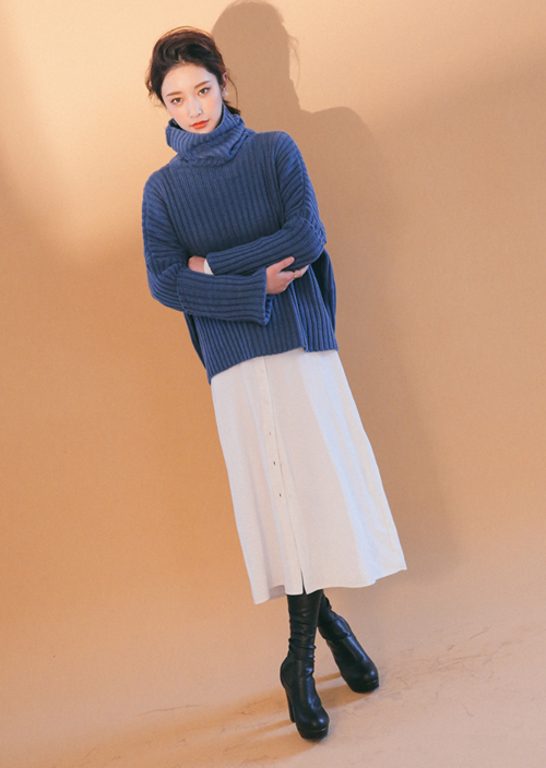Oversized Rib Knit Turtleneck Top