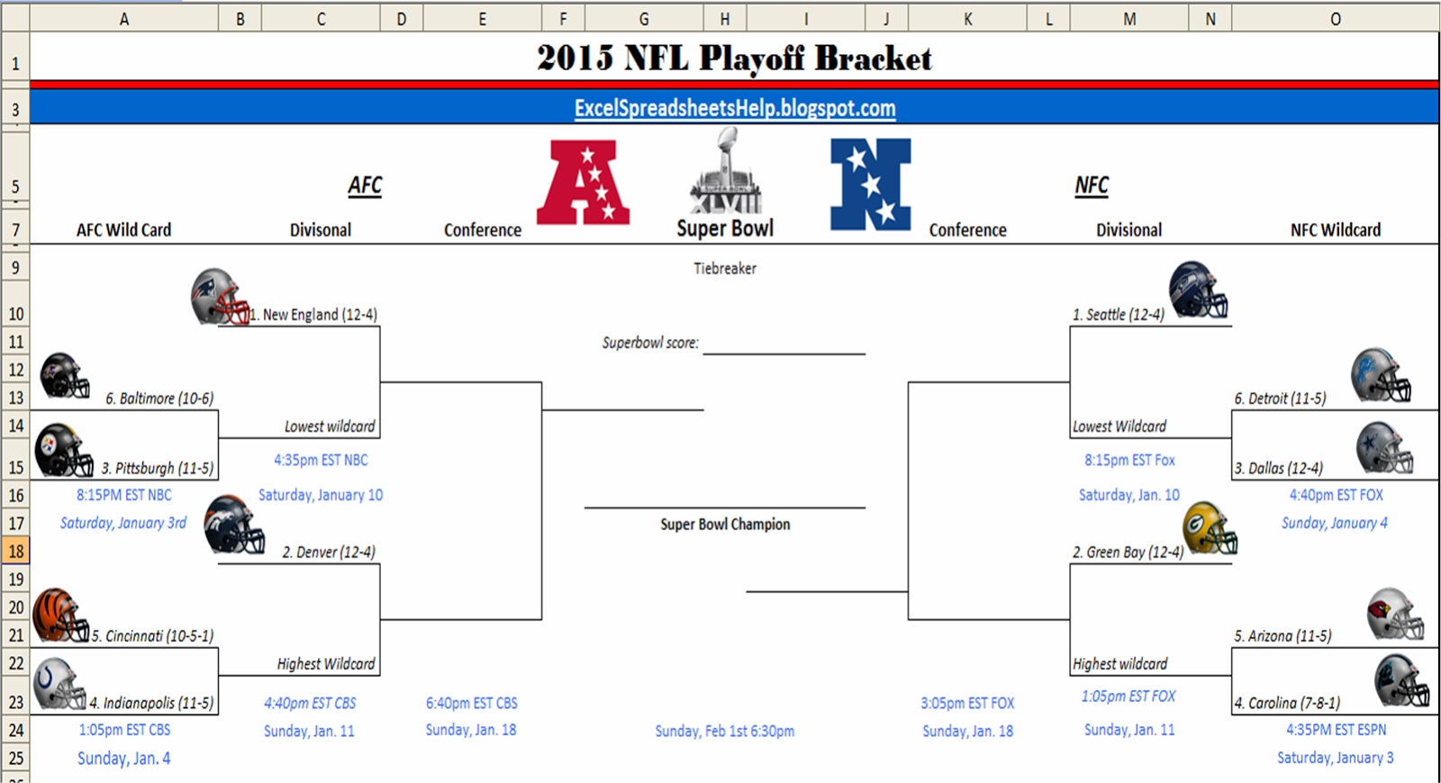 image relating to Nfl Playoff Brackets Printable identified as Excel Spreadsheets Assistance: Printable 2015 NFL Playoff Bracket