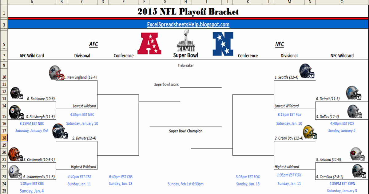 graphic regarding Printable Nfl Bracket known as Excel Spreadsheets Aid: Printable 2015 NFL Playoff Bracket