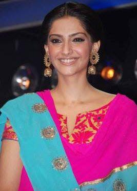 Sonam Kapoor Gold Chandelier Earrings
