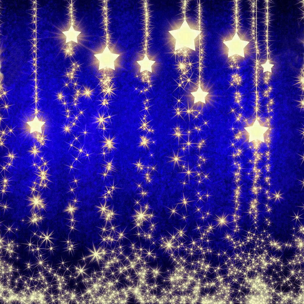 Christmas blue background with gold stars for scrapbooking for Blue and gold christmas