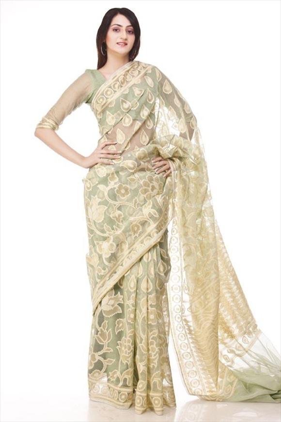 Forest Green Cotton Net Saree