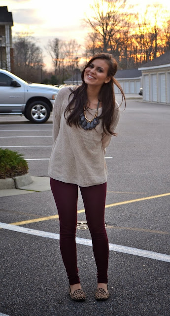 Pale Taupe Long Sleeve Sweater With Burgundy Leging And Leopard Shoes