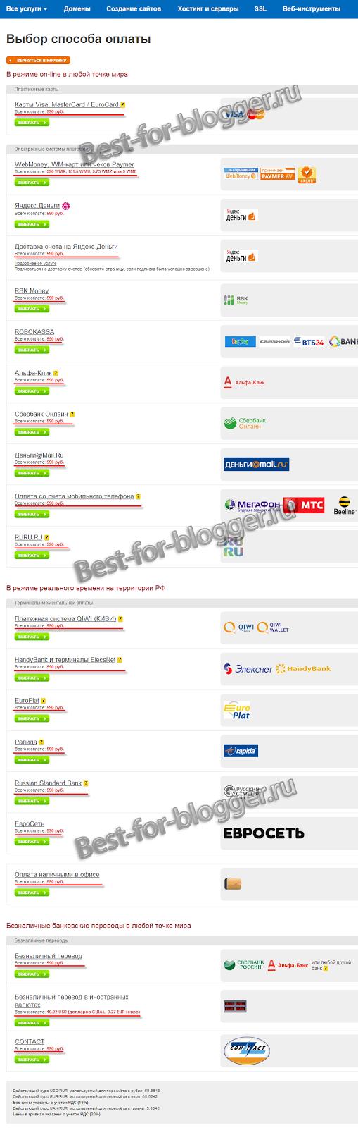 REG.RU - Vybor sposoba oplaty za registraciju domena
