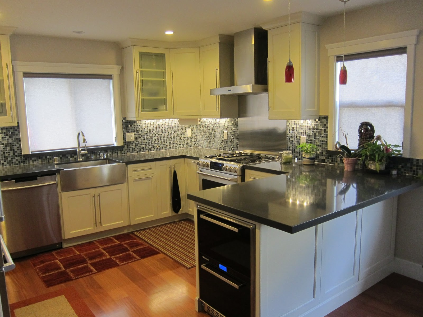 Picture of White Kitchen with Quartz Counters and Cabinets