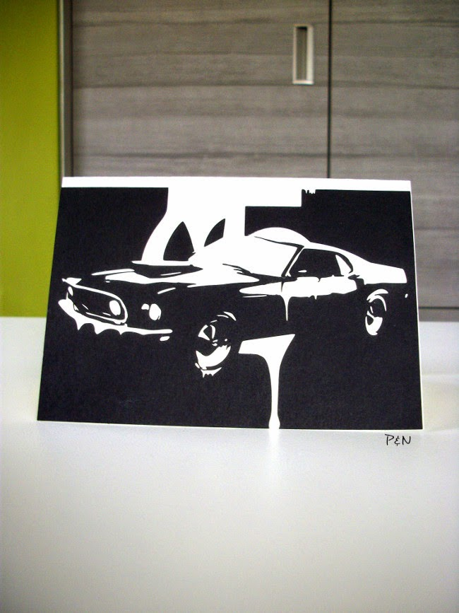 Pumps and Needles mustang birthday card