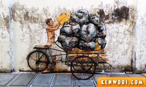ipoh wall art mural trishaw