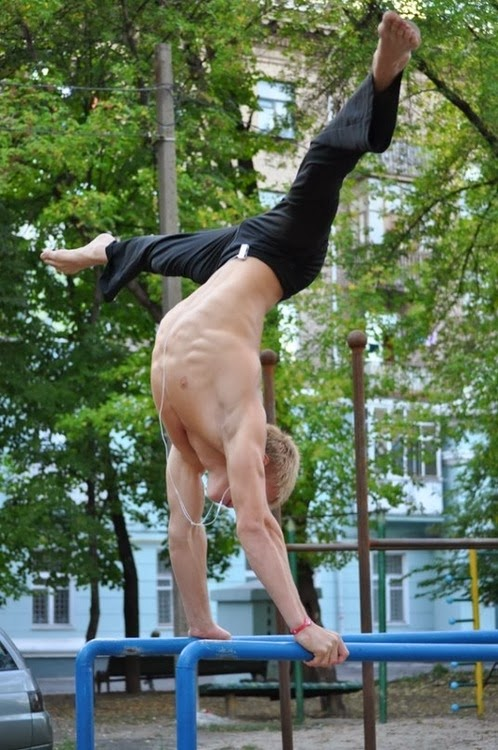 outdoor gymnast guy