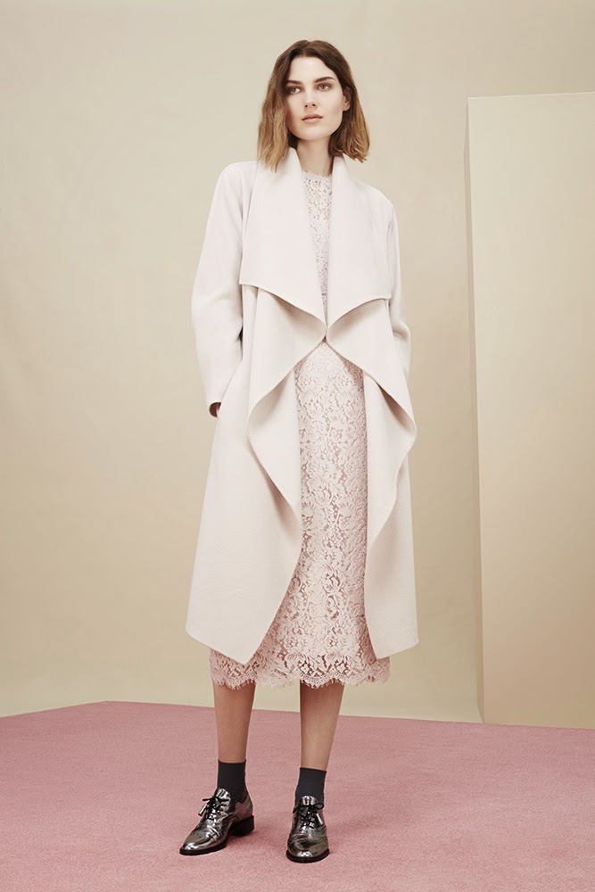 Hobbs cream Loretta Waterfall Coat, Lace Dress, Agatha Brogues