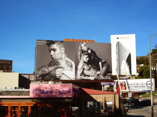 Justin Bieber Lara Stone Calvin Klein Jeans billboard