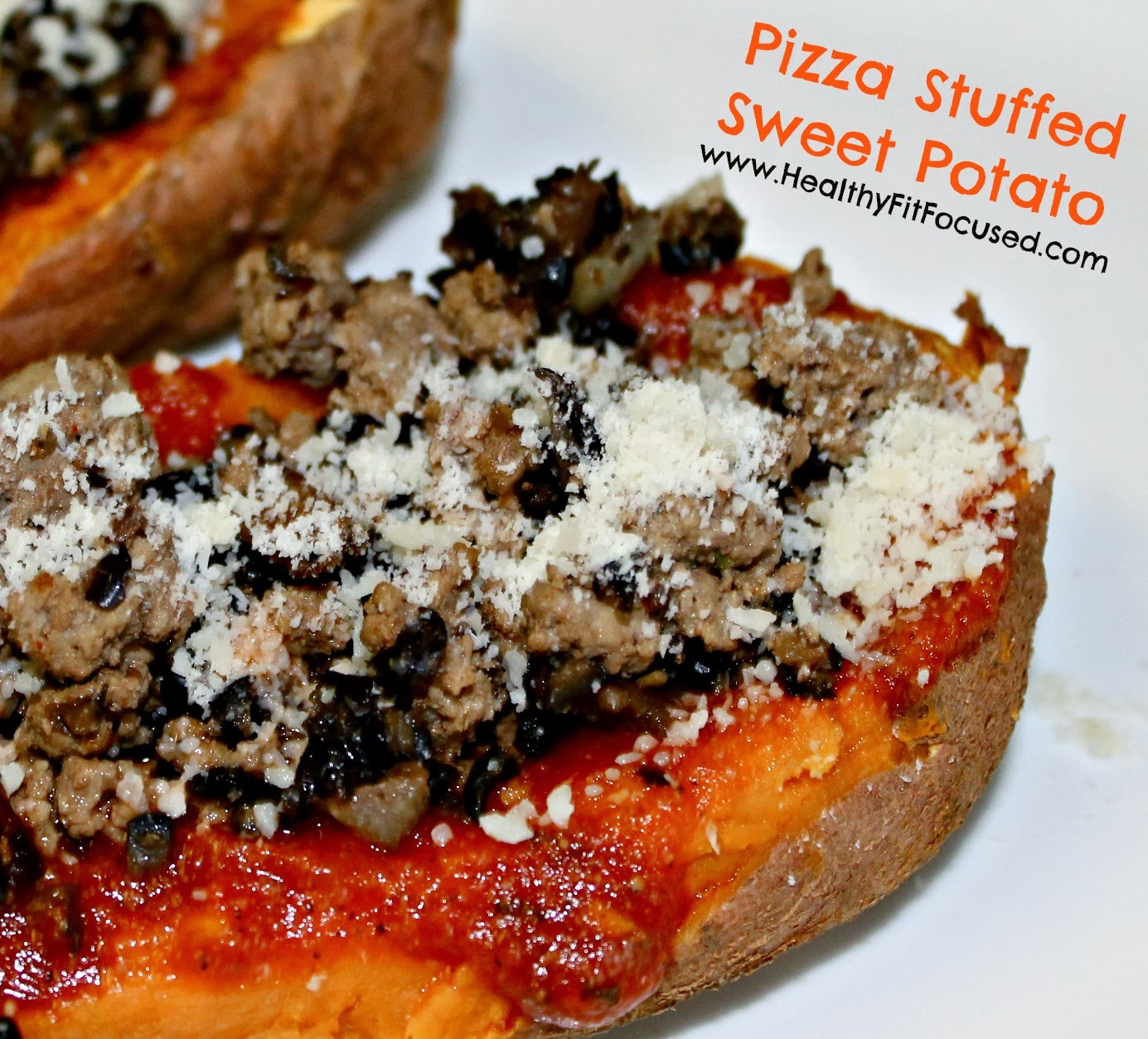 Pizza Stuffed Sweet Potato, www.HealthyFitFocused.com