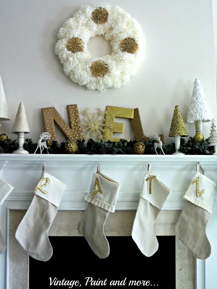 Vintage, Paint and more... crafted Christmas mantel decor - yarn wreath with diy snowflakes, paper covered NOEL, drop cloth stockings, crafted Christmas trees