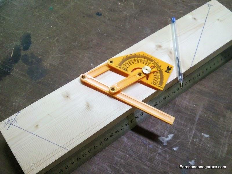 Cortes en la madera a 30 y a 60 grados que necesitaba hacer. Enredandonogaraxe.com