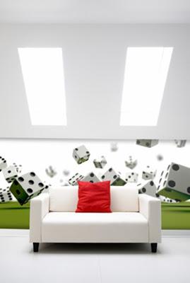 decoración con fotomural en la sala