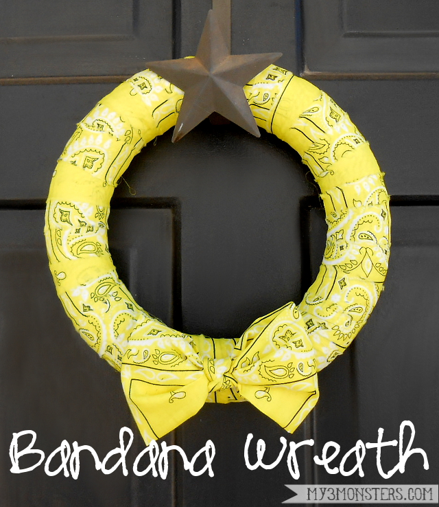 Super Easy $5 Bandana Wreath at my3monsters.com
