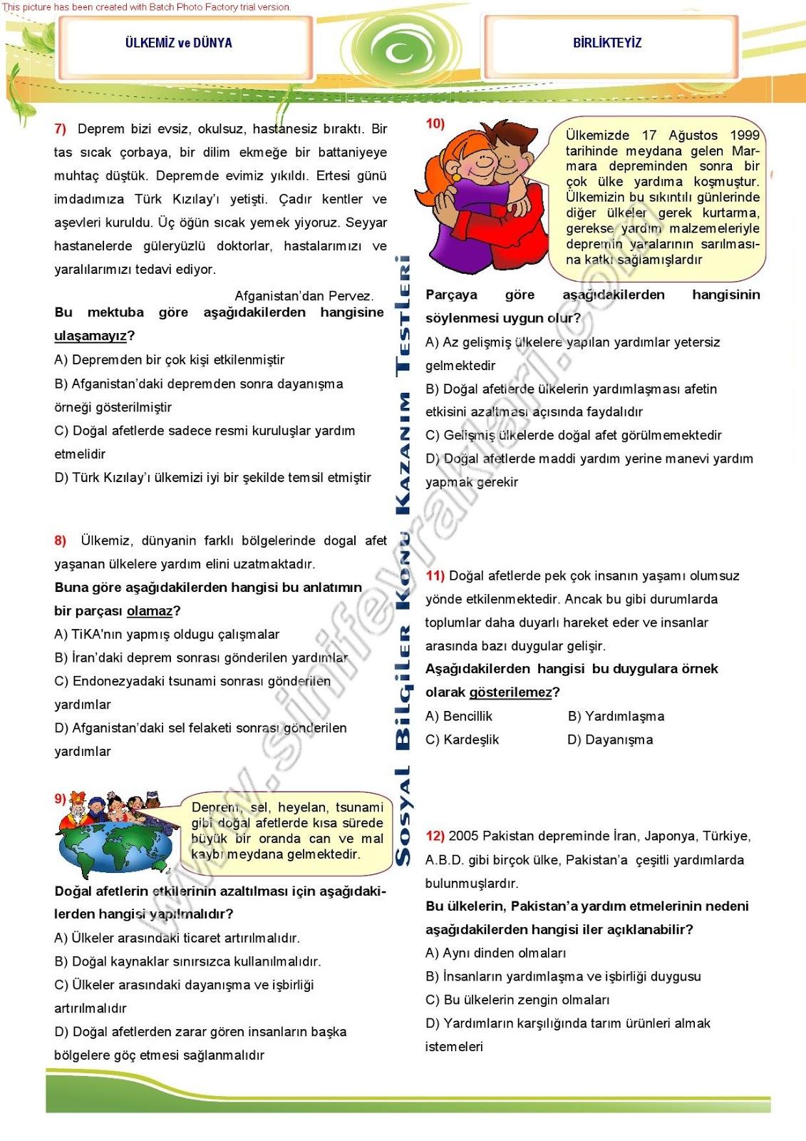 Sınıf ünite testleri sosyal bilgiler içinde yayınlandı