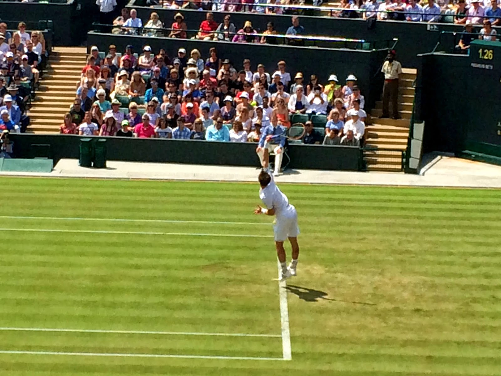 Andy Murray serving on Court 1 - Wimbledon 2014
