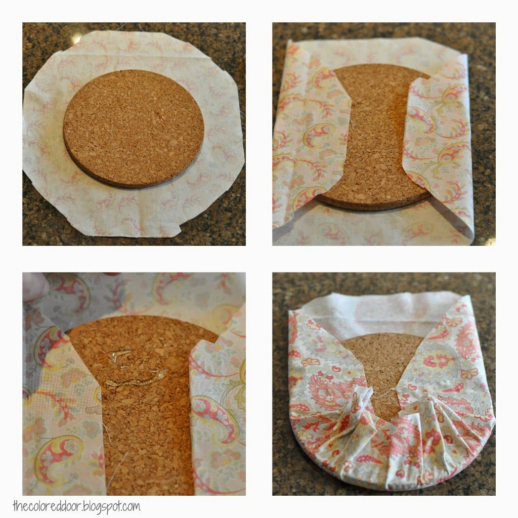Fabric covered cork trivet - the colored door