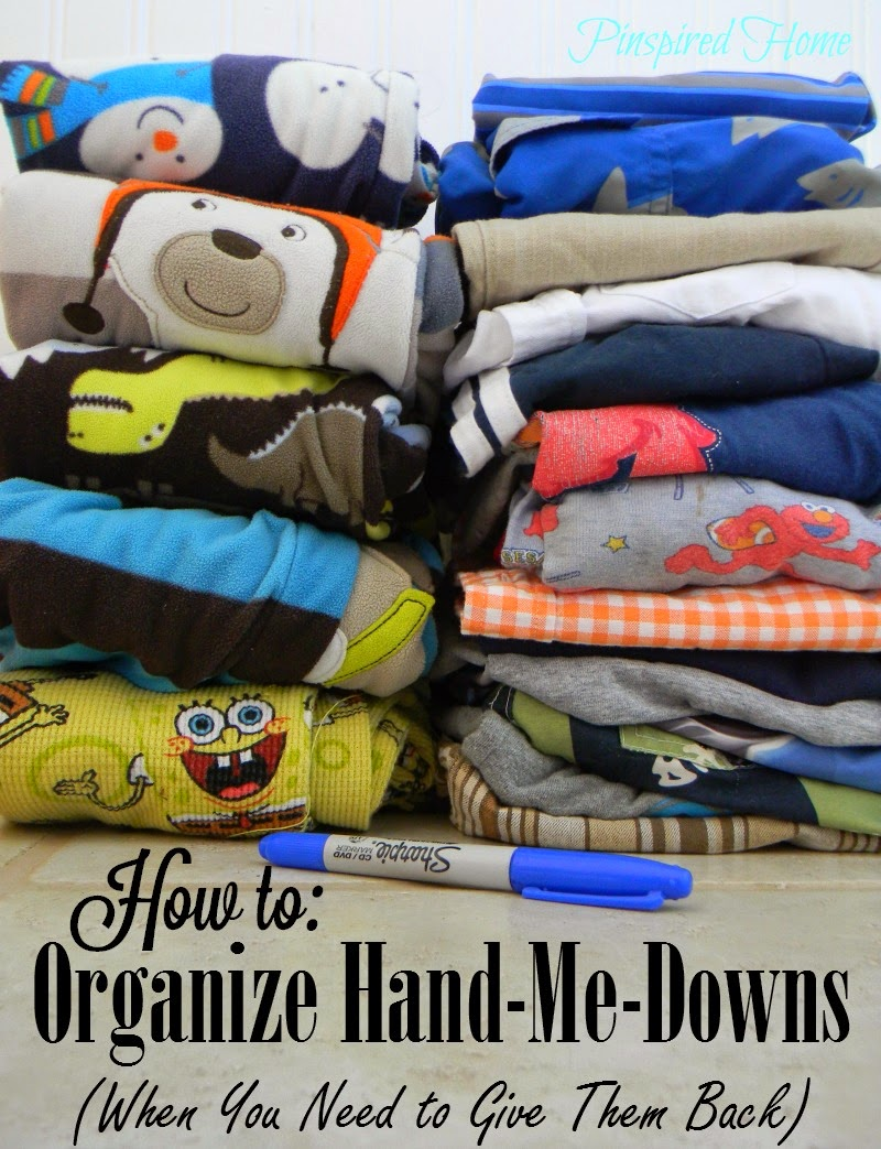 http://pinspiredhome.blogspot.com/2014/07/organizing-hand-me-downs-when-you-need.html