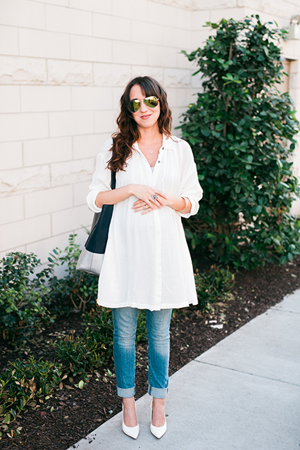 spring outfit, white spring outfit, free people blouse, free people aviators, kate spade tote, maternity jeans, maternity boyfriend jeans, maternity style, nashville blogger, nashville style blogger