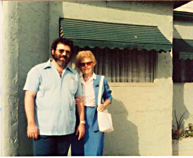 June 1986 - David Ocker and Edythe Ocker standing in front of Green Gables restaurant in Sioux City Iowa