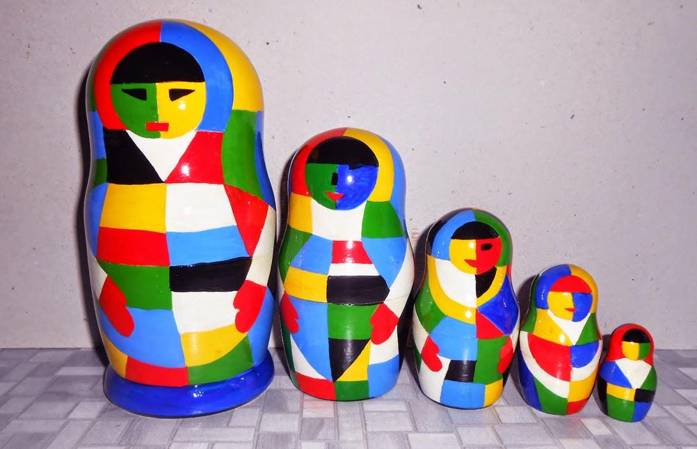 Russian nesting dolls (matryoshka) Malevich in the modern style.