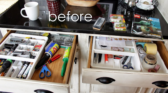 organized junk drawers - before