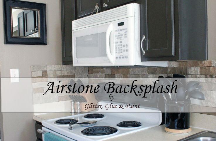 glitter glue and paint airstone back splash