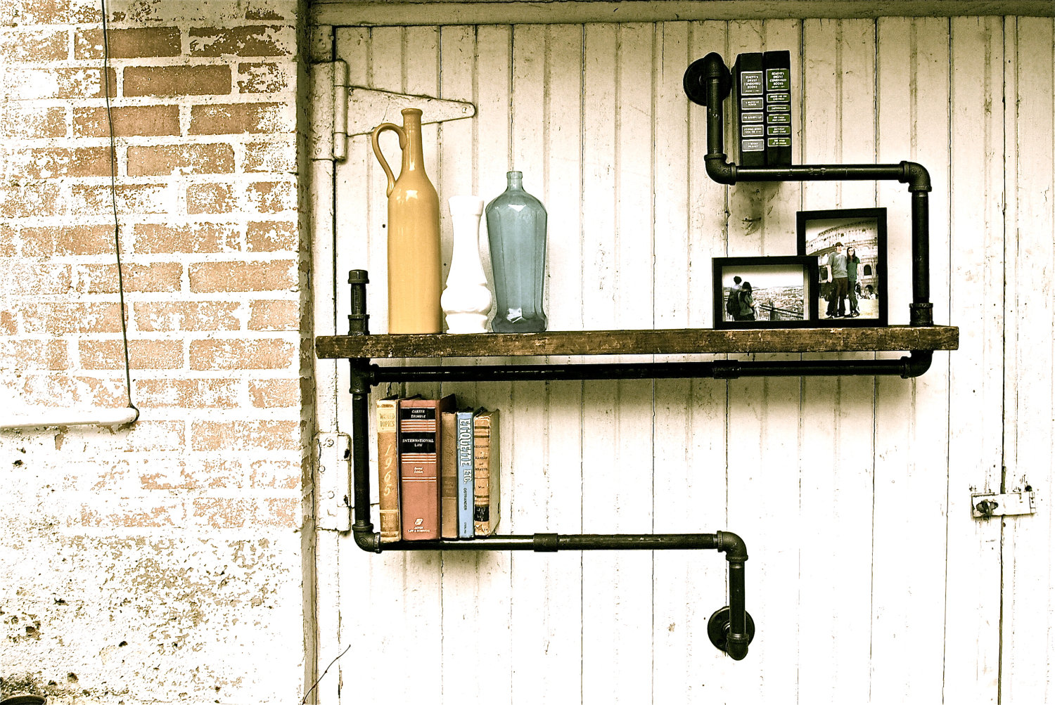 Superb img of The Hip Subscription: Industrial Pipe Shelf with #5D4E24 color and 1500x1003 pixels