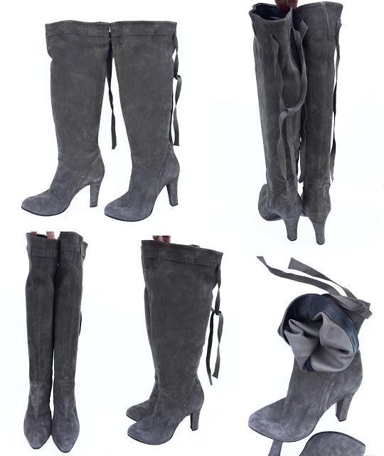 MADE IN ITALY-Cizme gri din piele naturală întoarsă, model peste genunchi, mărimea 38