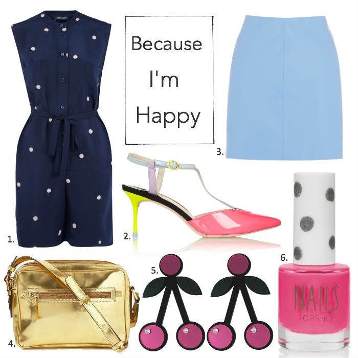 Sophie Hulme polkadot jumpsuit, Boden Mya bag gold, Jennifer Loiselle cherry earrings