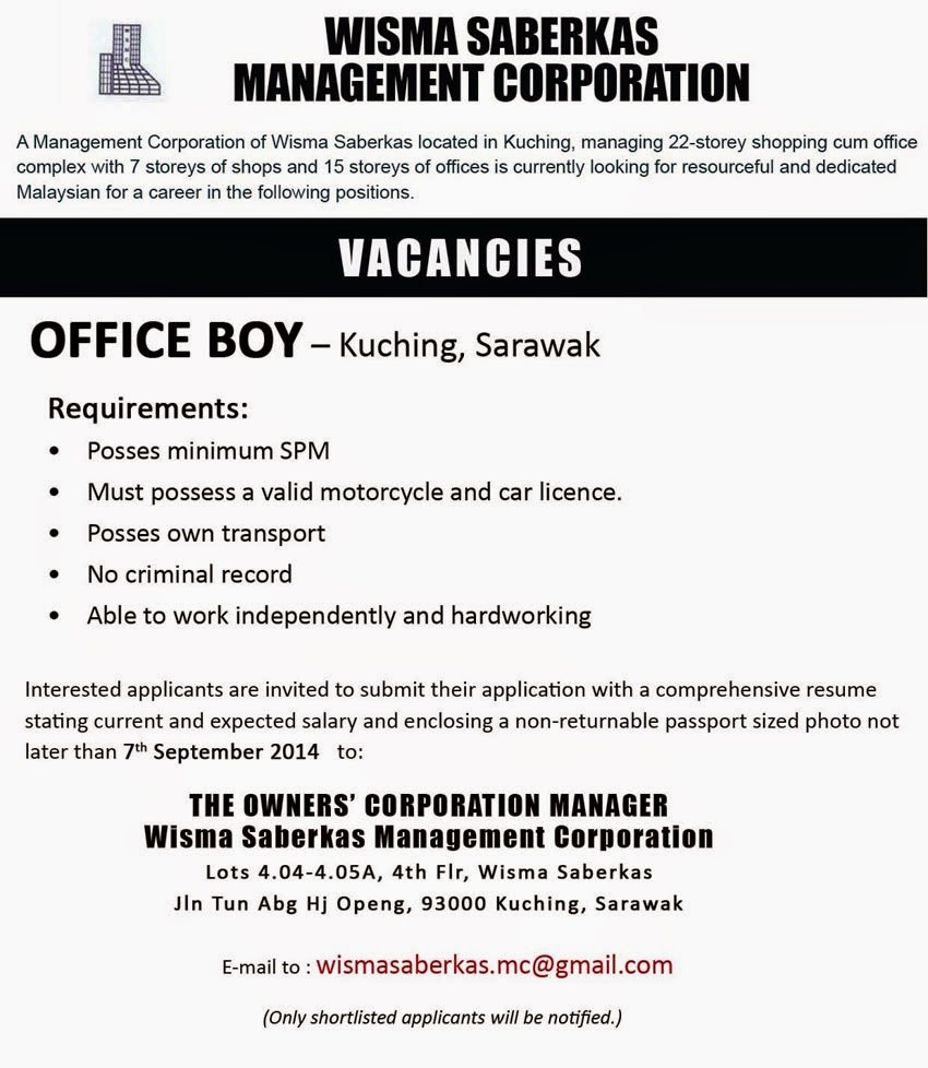 ACCOUNT EXECUTIVE (Kuching), Salary Range RM2, – RM2,, achelor's Degree/Diploma in accounting/ or finance required, Experience in job cost accounting and financial reporting, Call or Email resume to.