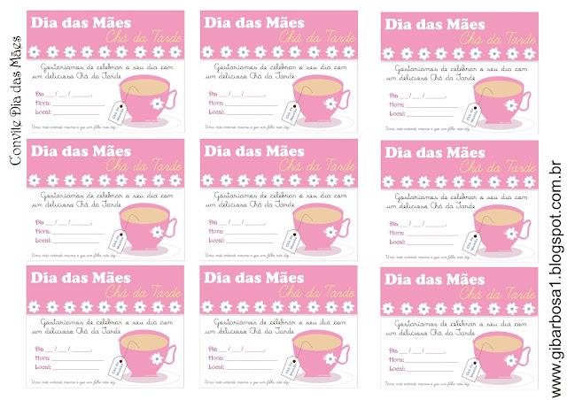 Convite para Chá de Dia das Mães com Recital de Poesia