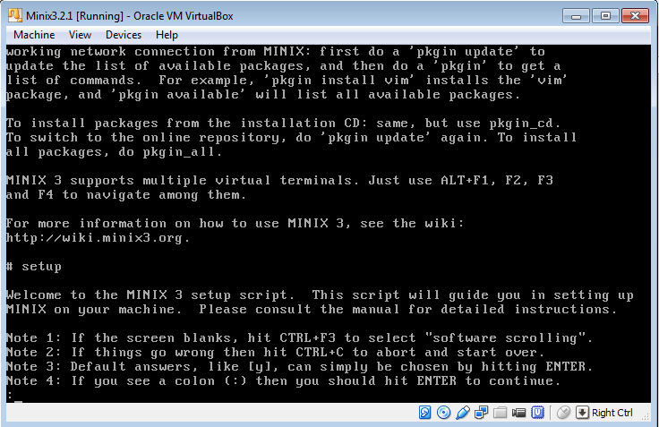MINIX 3 setup screen