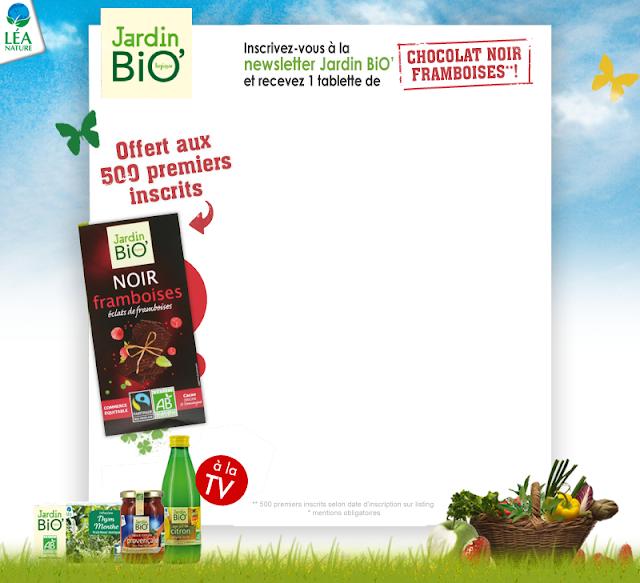 500 tablettes de chocolat Jardin Bio gratuites