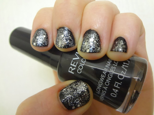 New Year's Eve nails, black nail polish with silver glitter