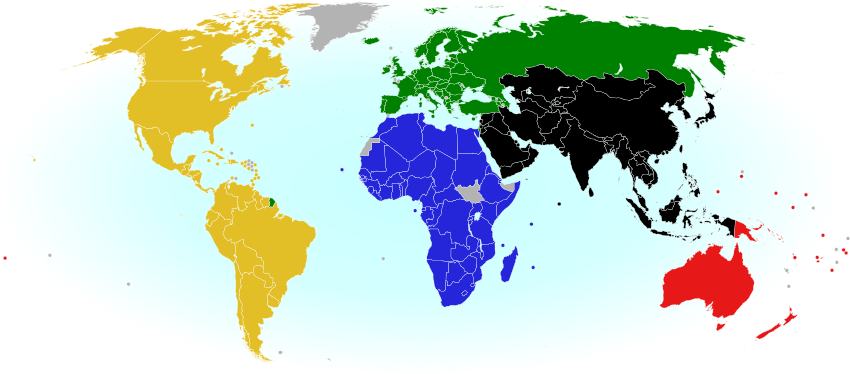 World Map Showing The Five Continental Associations Of National Olympic Committees Including All Nations Eligible